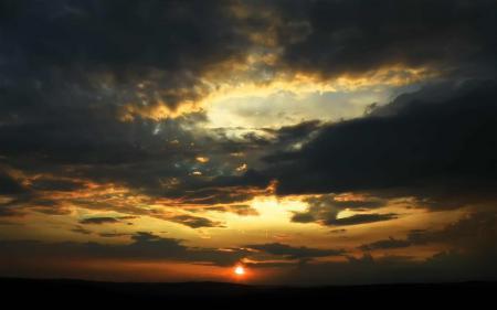 Фото небо, облака, закат, солнце