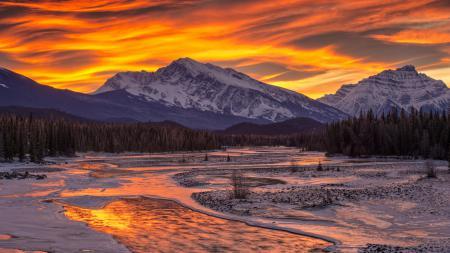 Заставки закат, горы, снег, лес