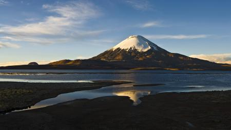Картинки гора, вулкан, снег, вода