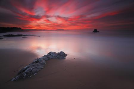 Фото небо, закат, кровавый, море
