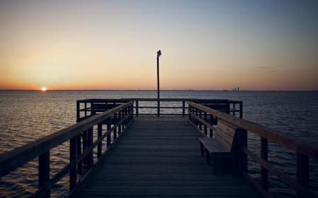 Обои пирс, скамейка, море, горизонт