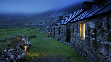 Фото каменные домики, строения, камни, крыши