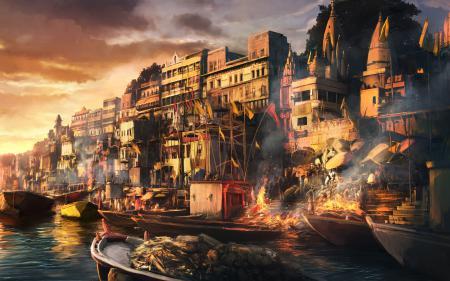 Фотографии пожар, город, лодка, люди
