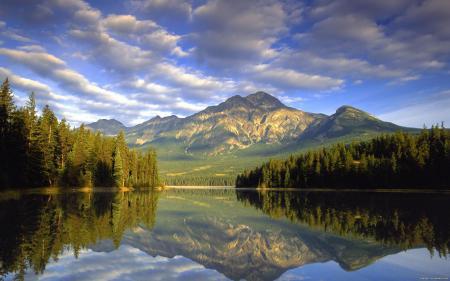 Заставки горы, природа, озеро, облака