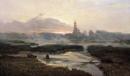 Картинки церковь, река, лодка, картина