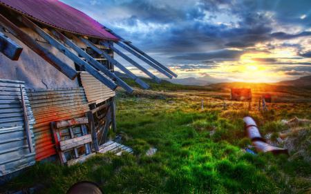 Заставки The Old Farmhouse, Sunrise, восход, старый дом