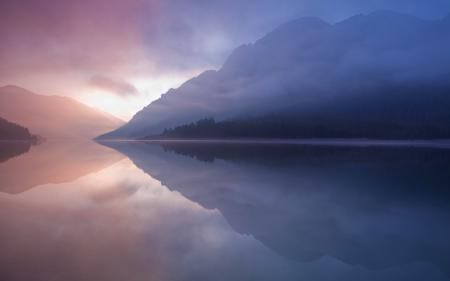 Заставки озеро, горы, небо, закат
