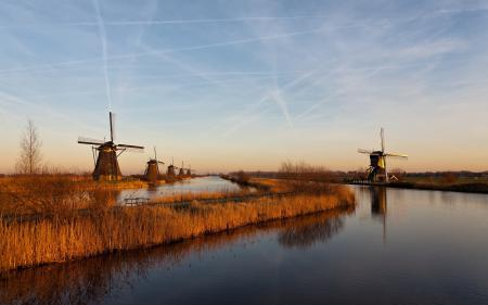 Фото утро, мельницы, каналы, осень
