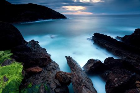 Заставки море, закат, скалы, пейзаж