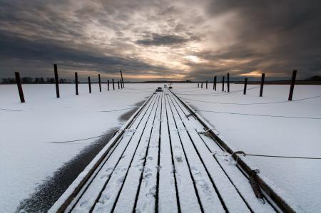 Фотографии зима, мост, ночь, пейзаж