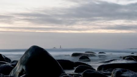 Фотографии ночь, море, камни, маяк