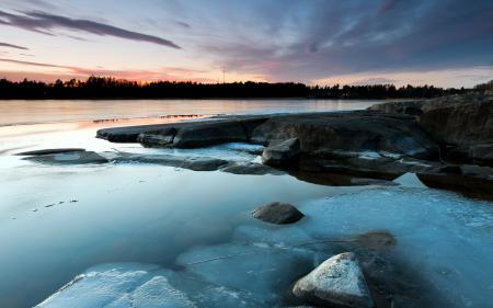 Заставки закат, озеро, камни, природа