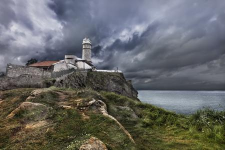 Картинки маяк, море, небо, пейзаж
