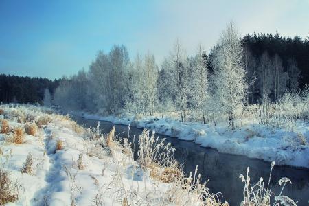 Заставки зима, река, снег