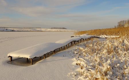 Фотографии зима, озеро, мост, снег