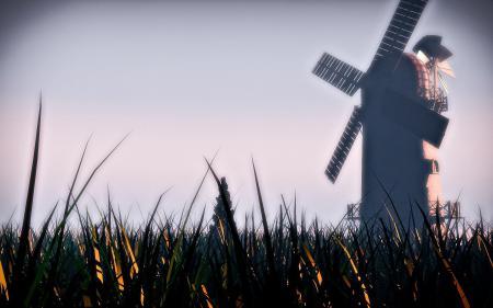 Картинки grass, windmill, skyscapes, пейзаж