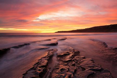 Заставки закат, берег, скалы, вода