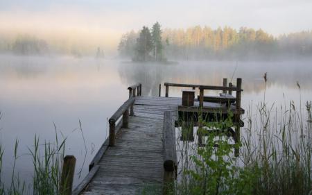 Фотографии озеро, мост, туман