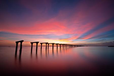 Фото море, скелеты, залив, закат