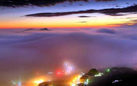 Обои туман, закат, город