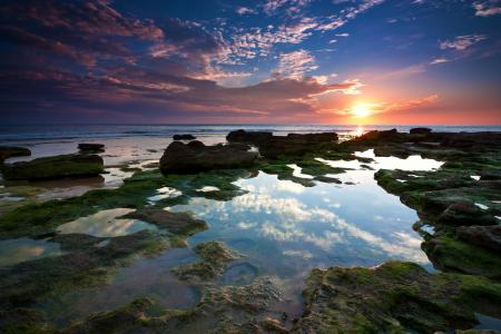 Картинки море, камни, вода, закат