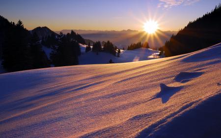 Обои горы, закат, природа, пейзаж