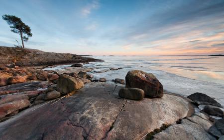 Обои море, закат, камни, природа