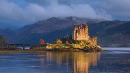 Заставки Шотландия, замок, озеро, мост