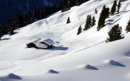 Заставки зима, горы, снег, дом