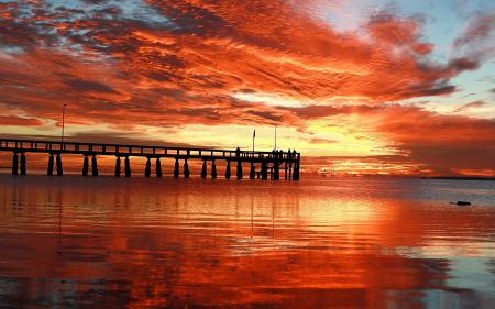 Фото мост, закат, море, небо