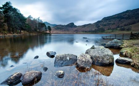 Обои озеро, камни, природа, пейзаж