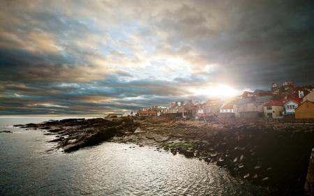 Картинки море, закат, город, пейзаж