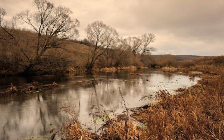 Картинки осень, река, утро, природа