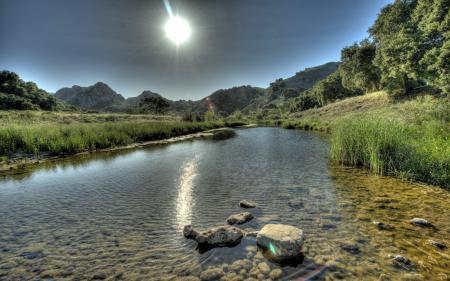 Заставки река, лето, камни, пейзаж
