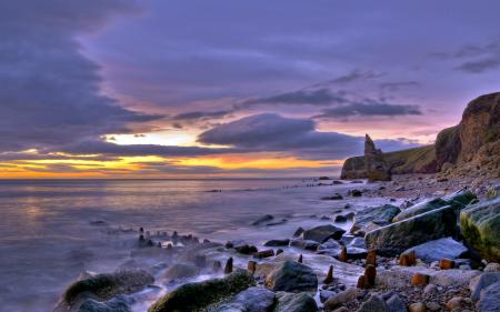 Обои закат, море, скалы
