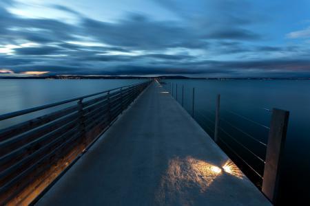 Обои ночь, река, мост, пейзаж