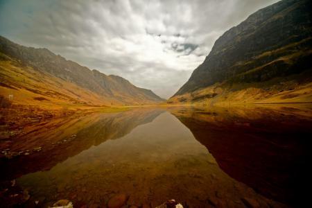 Обои водная гладь, долина, скотленд, небо