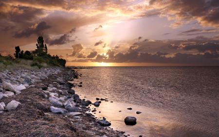 Заставки море, закат, природа, пейзаж