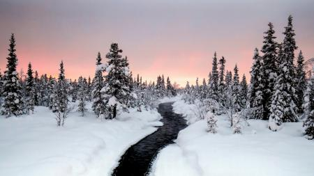 Обои зима, река, природа, пейзаж
