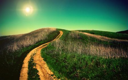 Обои дорога, трава, холмы, горизонт