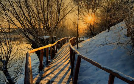 Картинки мостик, деревянный, перила, зимний вечер