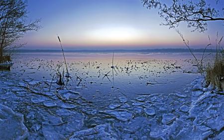 Обои озеро, пруд, зима, лёд