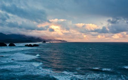 Заставки Oregon Coast Sunset, ecola state park, haystack rock