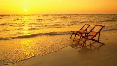 Заставки пляж, закат, шезлонги