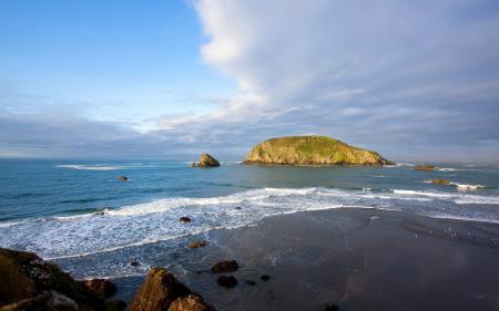 Обои море, горизонт, скалы, бриз