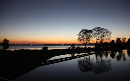 Картинки lake night, vinkeveen the netherlands, нидерланды