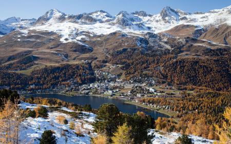 Заставки горы, озеро, водоём, дома
