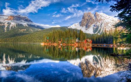 Обои природа, горы, лес, озеро