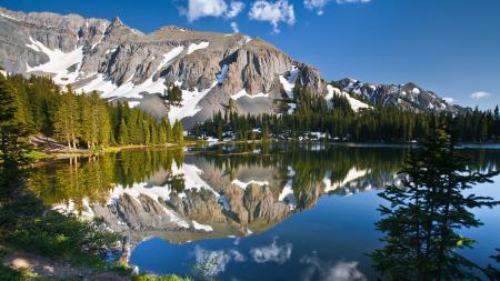 Заставки озеро, деревья, отражение, горы