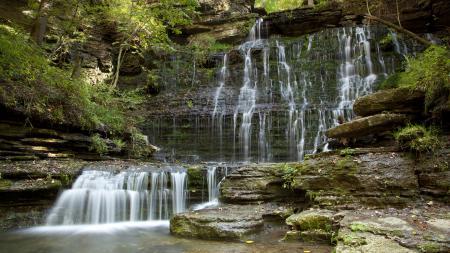 Картинки водопад, деревья, скала, камни